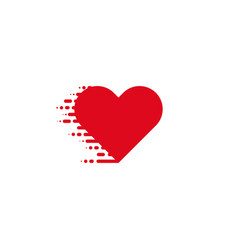heart icon red colored heart in linear style on vector image