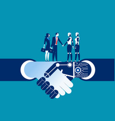 Human vs robot shake hand concept business vector