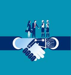 human vs robot shake hand concept business vector image
