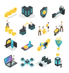 isometric blockchain safe global network vector image