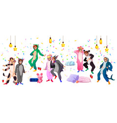 kigurumi pajama party youth in animal costumes vector image