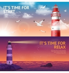 Lighthouse Banner Set vector