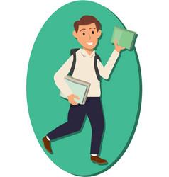 Man holding book vector