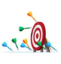 Many darts missed target mark vector