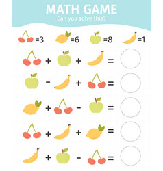 mathematical kids game children educational vector image