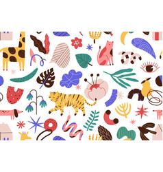 modern contemporary seamless pattern with animals vector image