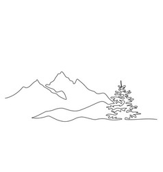 mountain landscape drawn in one line continuous vector image