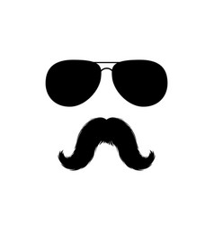 Moustaches and sunglasses face clipart black vector