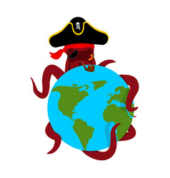 octopus pirate and earth poulpe buccaneer and vector image