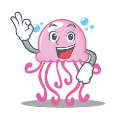 okay cute jellyfish character cartoon vector image