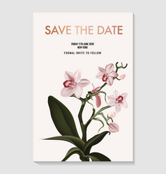 orchid realistic flower save date card tender vector image