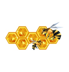 Origami honeycomb design and bees vector