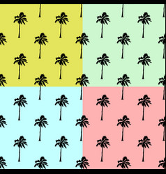 palm trees set background - seamless palm vector image