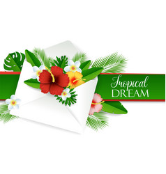 Paper cut envelope with tropical flowers vector