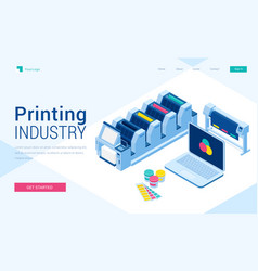Printing polygraphy industry isometric landing vector