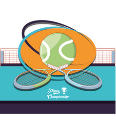 Racket and ball to play tennis sport vector