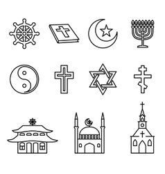 Religion line icons set vector