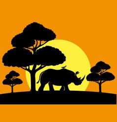 Rhinoceros and bird vector