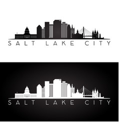 Salt lake city usa skyline and landmarks silhouett vector