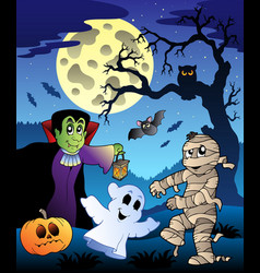 Scene with halloween tree 4 vector