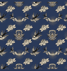 Seamless pattern with swallows and roses and vector