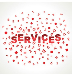 Services word with in alphabets vector image