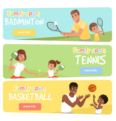 Set of 3 banners with sport parents and their vector