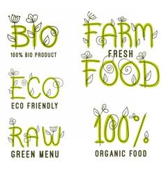 Set of healthy organic food labels vector