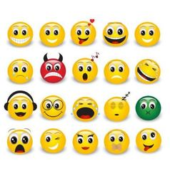 Set of round yellow emoticons vector image
