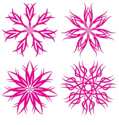 Set of symmetrical patterns Snowflakes or flowers vector