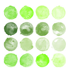 Set of watercolor green shapes vector