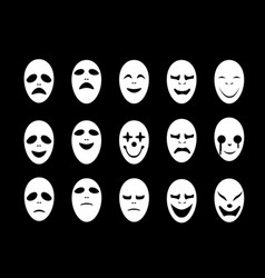 Set of white ghost face mask in flat style vector