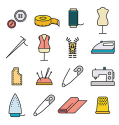 sewing and needlework tool thin line icon set vector image