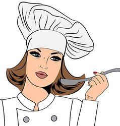 Sexy chef woman in uniform taste the food vector