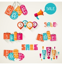 Shopping bags price labels in flat design style vector image