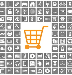 shopping icons web set vector image