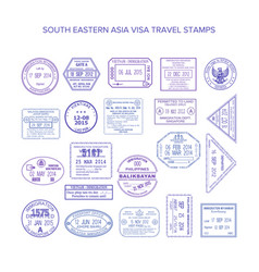South eastern asia common travel visa stamps set vector