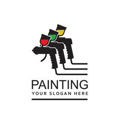 Spray gun painting emblem vector
