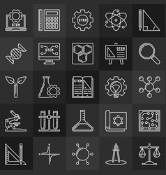 Stem education icons collection on dark vector
