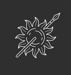 Sun and spear icon vector