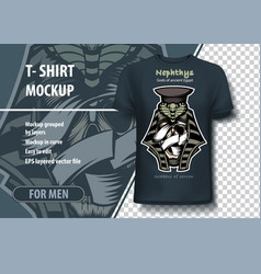 t-shirt template in nephthys is goddess of vector image