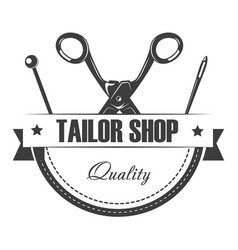 Tailor shop of high quality emblem with equipment vector