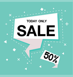 today only sale 50 off blue background ima vector image