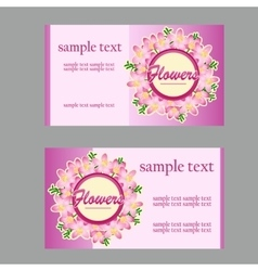 Two floral style cards with lilac disign in pink vector image