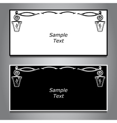 Two horizontal banner black and white hanging vector
