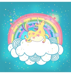 Unicorn rainbow in clouds vector
