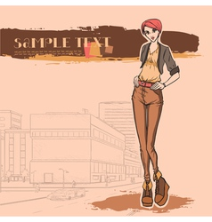 Urban view and slender sexy girl vector image