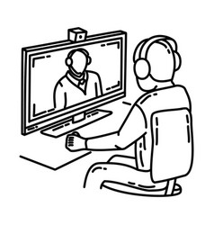 video teleconference icon doodle hand drawn vector image