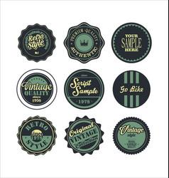 Vintage labels blue set 2 vector