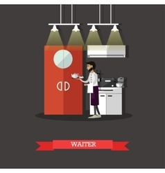 Waiter holds a tray with tea cup Restaurant vector image